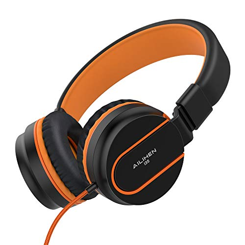 AILIHEN I35 Kid Headphones with Microphone Volume Limited Children Girls Boys Teen Lightweight Foldable Portable Wired Headset 3.5mm for School Airplane Travel Cellphones Tablets Smartphones (Black/Orange)