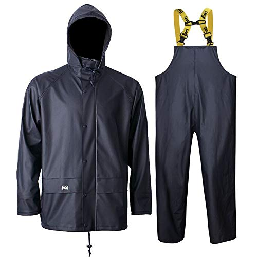 Rain Jacket with Pants for Men Women Waterproof Foul Weather Gear 3-Pieces Heavy Duty Suits (Medium, Navy)