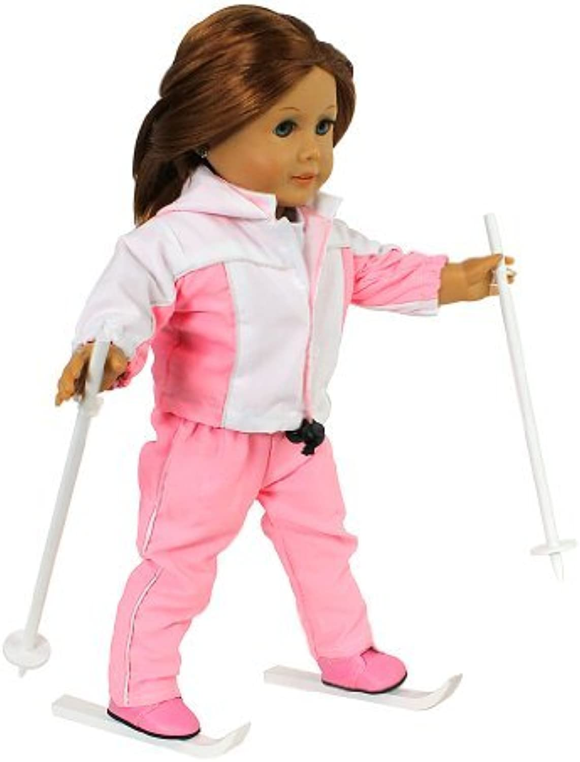 Doll Clothes for 18 Dolls  6 Piece Ready to Ski Skiing Outfit  By Dress Along Dolly (Includes Shirt, Pants, Jacket, Boots, Poles, and Skis) by Dress Along Dolly
