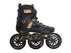 Boots - hard-shell upper combined with a pure-comfort liner Wheels - 125mm high Rebound 82a with glass-filled plastic core wheels Frame - 195mm mounted, aircraft grade, CNC, gold polished aluminum Bearings - pre-spun ABEC - 7 speed bearings