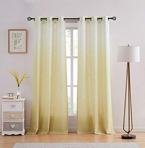 "Central Park Ombre Rayon Blend Heavy Linen Texture Window Curtain Panel 6 Grommets Top Gradient Cream White to Yellow/Light Gold Window Drapes Treatment for Living Room/Bedroom, Set of 2, 40"" x 95"""