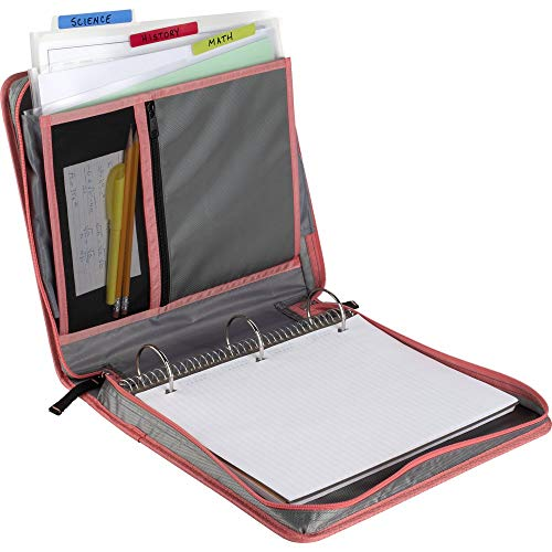 Five Star Zipper Binder, 2 Inch 3 Ring Binder, Removable File Folders, Durable, Gray/Bright Coral (29036IY8) Photo #2