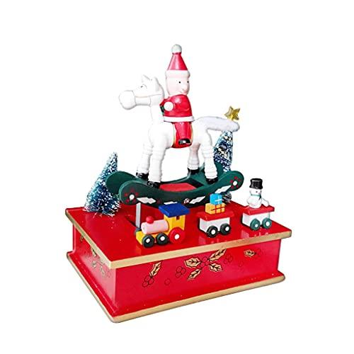ZYING ZORE Decoraciones navideñas Caja de música de Madera Caja de música Decoración de la habitación Creativo Caja de música