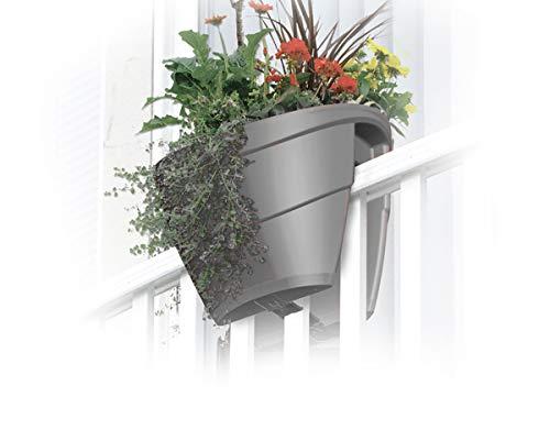 UPP Blumenkasten Blumentopf 40 cm Universal hängend Halterung | Für Zäune & Geländer bis 10cm | Schutz vor Über- und Unterwässerung durch selbstregulierende Erdfeuchtigkeit (Anthrazit 4er Set)
