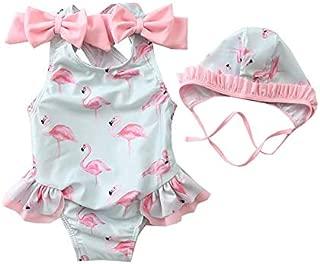 Cute Baby Girl Swimwear One Piece Flamingo Cartoon Pattern Girls Swimsuit Kid Children Swimming Suit With Swimming Cap