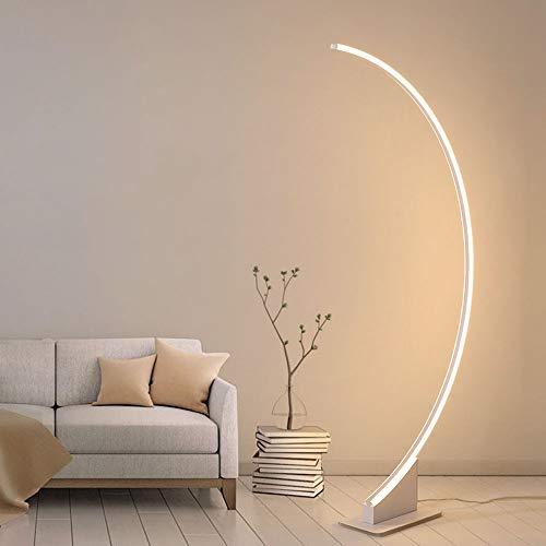 QZZZ Lampada ad Arco LED Moderna Lampada da Terra Salotto Dimmerabile con Telecomando, Scandinavo Stile Lampada a Stelo per Soggiorno Camera da Letto,Bianca