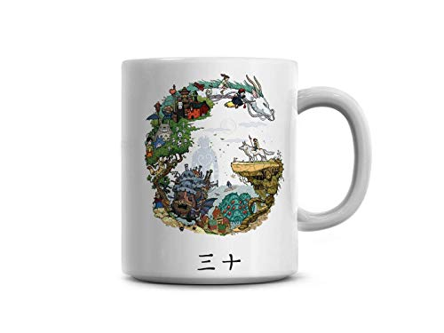 Famous Favourite Anime Characters From Ghibli Anime Studio Coffee Mug - 11Oz White Gift For Friend Fans Kids Children Girlfriend Boyfriend In Christmas Anniversary Wedding Day Valentine