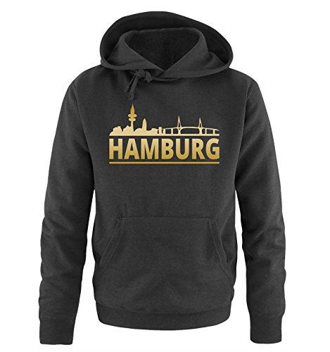 Comedy Shirts Hamburg - Skyline - Herren Hoodie - Schwarz/Gold Gr. M
