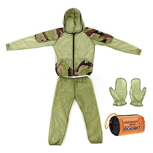Lixada Mosquito Repellent Suit Bug with Bug Jacket Hood,Pants Net,Leg Gaiter and Gloves,Protective Whole Body Repellent Bug Jacket Ultra-fine Mesh Insect for Outdoor Fishing Hiking Camping Gardening