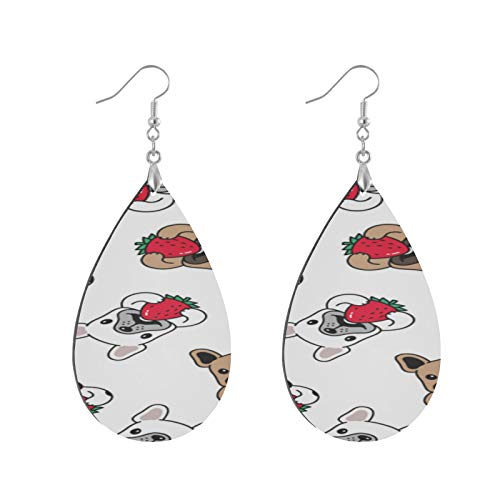 XHYYY Teardrop Wooden Earrings Drop Dangle Earings Lightweight Dog French...
