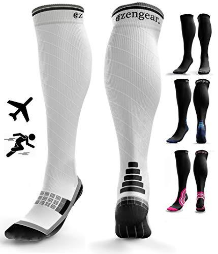 Calcetines de Compresión para Hombres y Mujeres - Medias de Compresion para Deporte - Maratones - Enfermeras - Estrés tibial Interior - Durante Embarazo (S/M (35-42), Blanco/Gris)