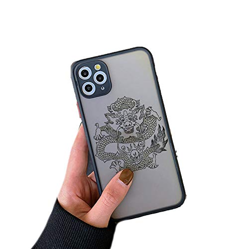 EYDLK Black Dragon Phone Case for iPhone 11 Plus XR 12 Pro MAX SE Fashion Animal Hard PC Back Cover Shell-Black Long 5-for iPhone 12Pro MAX