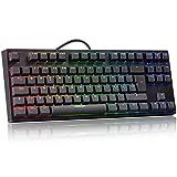 Español TKL Teclados Mecanicos, hiwings Azul Interruptor Teclados Gaming con Cable, Cada Llaves se Personaliza para configurar la luz RGB, 100% Anti-Fantasma para PC/Windows/PS4 PS5 Gamer