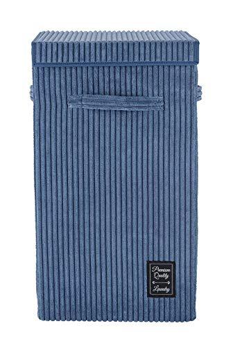WENKO Panier à linge Cora Bleu, panier à linge moderne en velours côtelé moelleux, avec couvercle à fermeture auto-agrippante et 3 poignées de transport, capacité de 63 litres, 33 x 58 x 33 cm