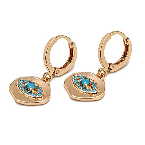 Glückliches Auge Unregelmäßiger Charme Türkische böse Augentropfen Ohrringe Gold Farbe Kleine Baumel Ohrringe Für Frauen Mädchen Modeschmuck