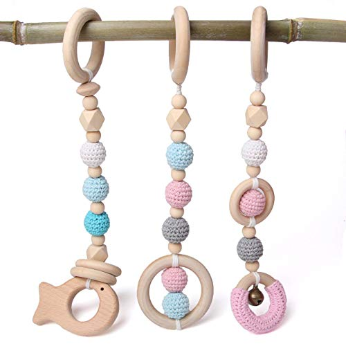 Baby Play Gym Toys Teething Wood 3 Packs, Wooden Crochet Beads with Rings Chewable, Newborn Gift, Baby Pink and Blue