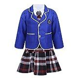 ranrann Uniforme de Escolar para Niña Traje de Escuela Estilo Coreano Británico Disfraz de Colegiala 4Pcs Conjunto Cosplay Anime Japónes Halloween Fiesta Azul 5-6 años