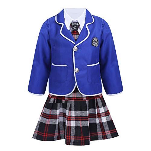 ranrann Uniforme de Escolar para Niña 4Pcs Conjuntos Falda Corta Escocesa Chaqueta Suit Traje de Cosplay Anime Japónesa Traje de Escuela Británico Disfraz de Colegiala Azul 5-6 años