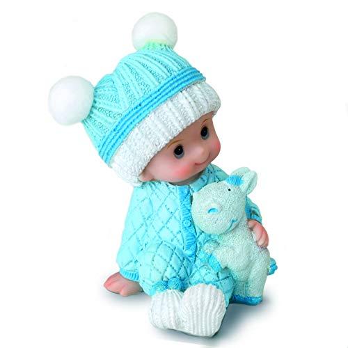 Mopec Figura pastel bebé para bautizos, Azul, 10 cm