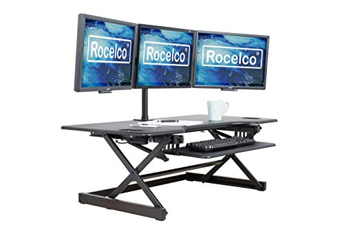 "Rocelco 46"" Large Height Adjustable Standing Desk Converter, Quick Sit Standup Triple Monitor Riser, Gas Spring Assist Computer Workstation, Retractable Keyboard Tray, (R DADRB-46), Black"