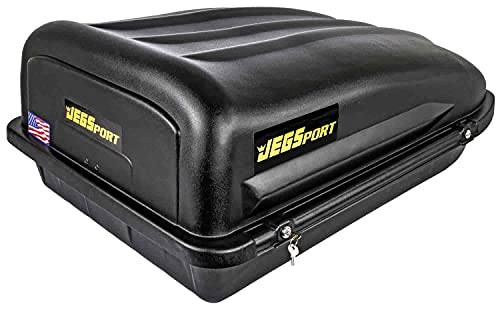 JEGS Rooftop Cargo Carrier | Hard Car Top Small Luggage Box | Waterproof Storage | Heavy Duty Solid Case | Made in USA | 10 Cubic Ft. | 110 Lb. Capacity | Zero Tool Easy Assembly | Aerodynamic Design