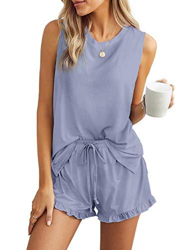 Azokoe Women Summer Pajamas Set Soft Sleeveless Tank Tops and Ruffle Shorts Sleepwear Loungewear Nightwear Pjs Sky Blue XL
