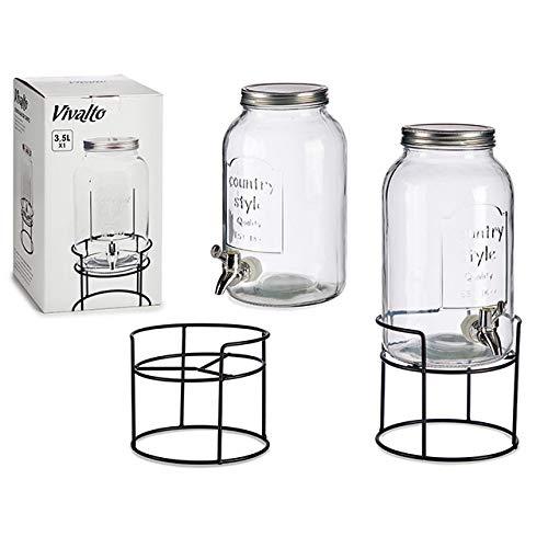 amara-global Getränkespender mit Hahn 3,5 L Glas Enjoy mit Ständer und Zapfhahn Wasserspender