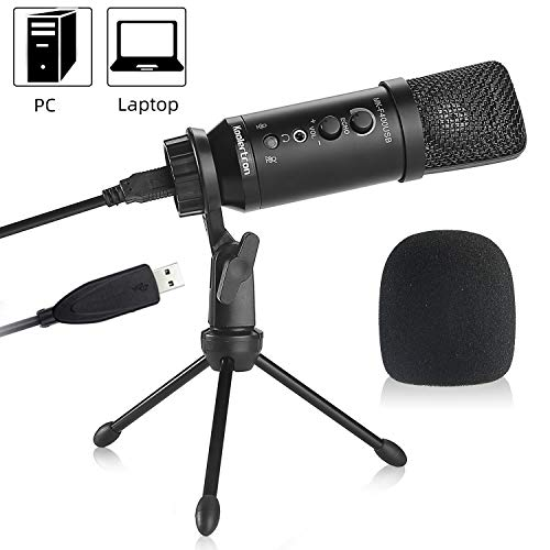 USB Microphone Condenser, Recording Podcast Microphone Suspension Arm Tripod PC Laptop Microphone, Adjustable Microphone Stand Kit Cardioid for studio Skype Youtube with Pop Protector (Windows/Mac)