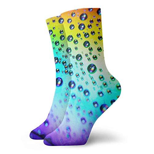 ONGH Rainbow Drops Classic Crew Socken Flachstrick Casual Athletic Stoking 30CM Leichte Luftdurchlässigkeit