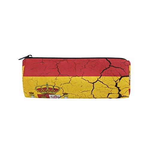 Bonie - Estuche para lápices con diseño de bandera de España, estilo retro, para la escuela, papelería, bolígrafos, con cremallera, bolsa de maquillaje