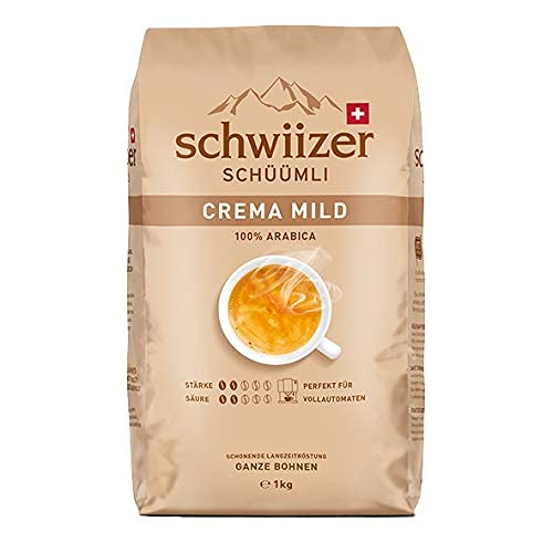 Schwiizer Schüümli Mild Ganze Kaffeebohnen (1kg, Stärkegrad 2/5, Säuregrad 2/5, Premium Arabica) 1er Pack x 1kg