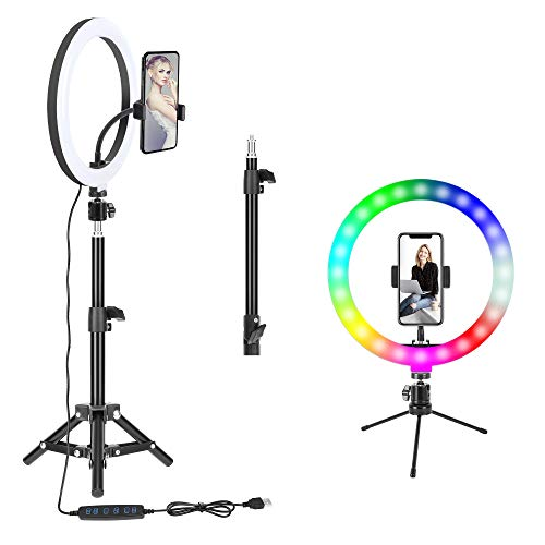 "10"" RGB Selfie LED Ring Light with 2 Tripod Stand,Remote Shutter&Cell Phone Holder,BONFOTO Dimmable Beauty Ringlight for Live Stream/Makeup/YouTube Video/Photography/Vlog Shooting"