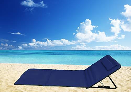 Pincho Esterilla de Playa Plegable portátil con Respaldo Ajustable y reposacabezas 145x47x50cm Bolsillo de Almacenamiento (Azul Marino)