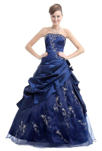 Faironly Frauen trägerlosen Abendkleid M37 (XXL, Marineblau)