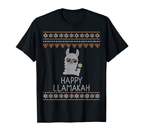 Happy Llamakah Funny Ugly Hanukkah Sweater Llama Pajamas Top T-Shirt