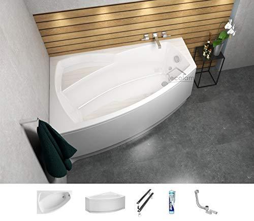 ECOLAM Badewanne Eckbadewanne Acryl Frida weiß 140x90 cm LINKS + Schürze Ablaufgarnitur Ab- und Überlauf Automatik Füße Silikon Komplett-Set