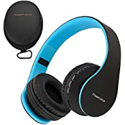 PowerLocus Wireless Bluetooth Over-Ear Stereo Foldable Headphones, Wired Headsets Noise Cancelling with Built-in Microphone for iPhone, Samsung, LG, iPad (Black/Blue)