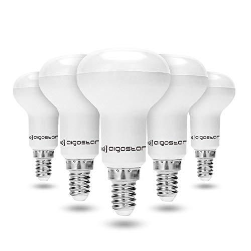 Pacco da 5 Lampadina LED E14 7W, Aigostar R50 Lampadine, Luce Bianca Fredda 6400K 550Lumen, Angolo a Fascio 170°, Non Dimmerabile