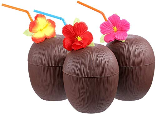 znwiem 3PCS Plastik Kokosnuss Becher für Kinder Spaß Hawaii Luau Strand Themenparty mit Hibiskus Blume Biegbar Stroh - 3pcs, as Shown