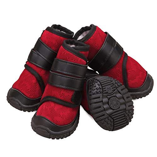 Zapatos Deportivos De Malla Transpirable para Perros Zapatillas De Moda con Correa De Tubo De Tubo Alto Botines Antideslizantes para Perros Garra Protector - para Todas Las Razas - 4Pcs