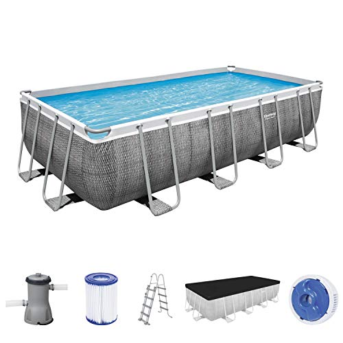 Power Steel Frame Pool Komplett-Set, eckig, mit Filterpumpe, Sicherheitsleiter & Abdeckplane 488 x 244 x 122 cm