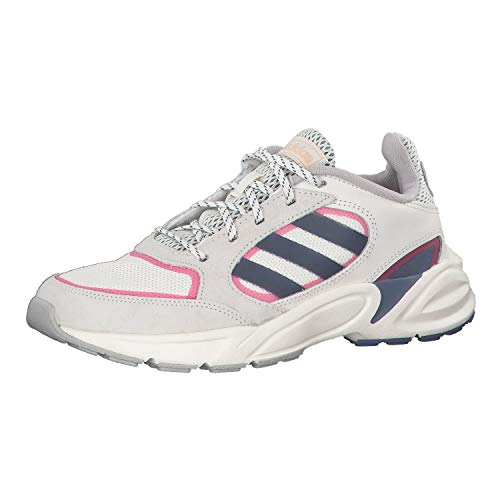 Adidas 90s Valasion, Zapatillas para Correr Mujer, Blanco Nube/Tinta técnica/Real Pink S18, 40 EU