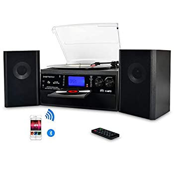 DIGITNOW Bluetooth Record Player Turntable with Stereo Speaker LP Vinyl to MP3 Converter with CD Cassette Radio Aux in and USB/SD Encoding Remote Control Audio Music Player Built in Amplifier