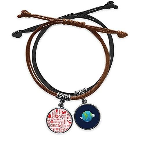Bestchong Merry mas Trees Deer Bracelet Rope Hand Chain Leather Earth Wristband
