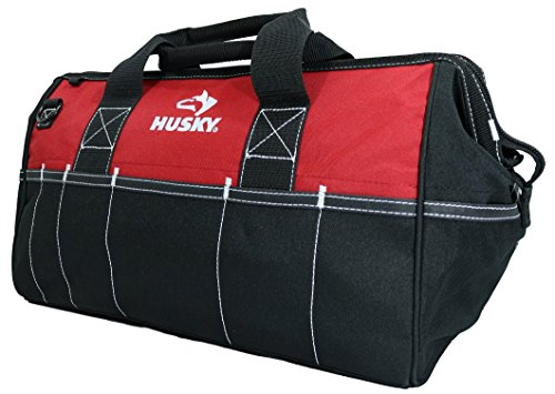 "Husky 82003N11 18"" Water-Resistant Contractor/DIY Tool Bag with Shoulder Strap"