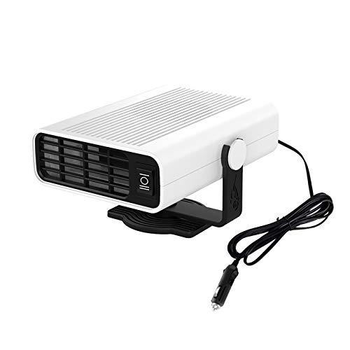 QDY-Calentador Coche Portátil Descongelador, Calentador Ventilador Coche 3 Segundos Calentamiento Rápido Descongelado 12 V, Calefacción y Refrigeración 2 en 1 Encendedor,Blanco