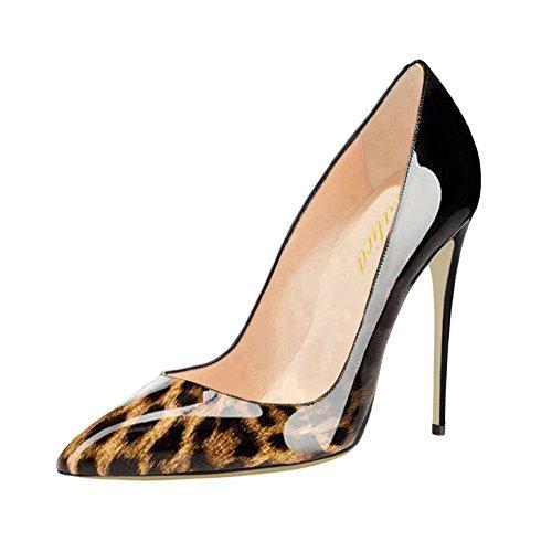 Lutalica Damen Mode Gradient Printing Spitzschuh Lackleder Stiletto Heels Pumps Schwarz Leopard Größe 38 EU