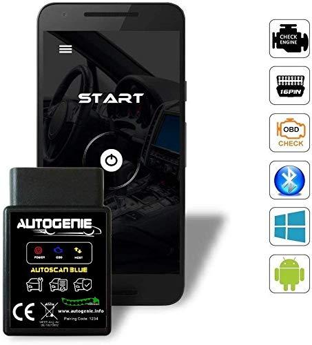 Autogenie ECHTZEIT-Daten Fehler Lesen & Löschen am Android Handy Bluetooth OBD2 KFZ Diagnose und Codieren am Auto über Smartphone & PC