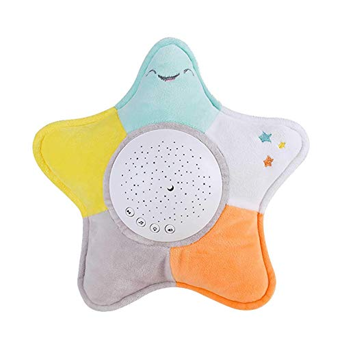 Baby schlafen Schnuller Spielzeug, Kleinkind Schlafhilfe Nachtlicht mit dem Geräusch von Regen, Vögeln und anderen natürlichen Sounds und 3 Projektionsmodi Weiche und kurze Flusendesign Komfortable Ha
