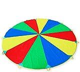 Ombrello da paracadute, 3,5 m, giocattolo per bambini e famiglia, colorato, ideale per interni ed esterni, per ore di gioco e intrattenimento, con borsa per il trasporto